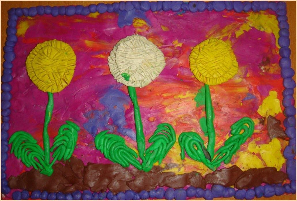 пластилинография цветы 4