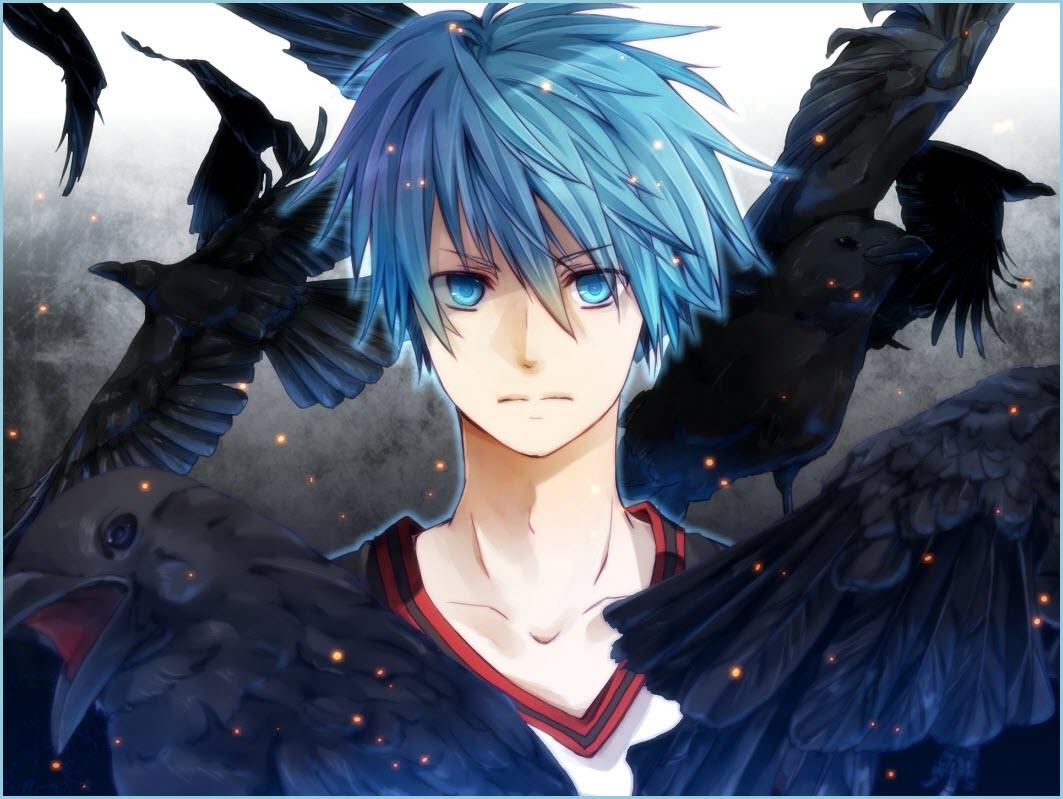 парень аниме с голубыми глазами