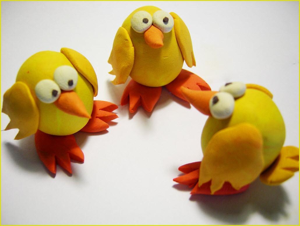 фигурки из пластилина цыплят