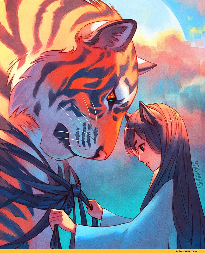 аниме арт тигр