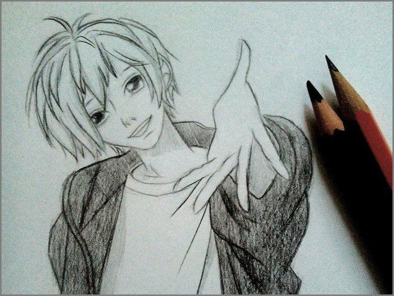 Рисунок аниме парень