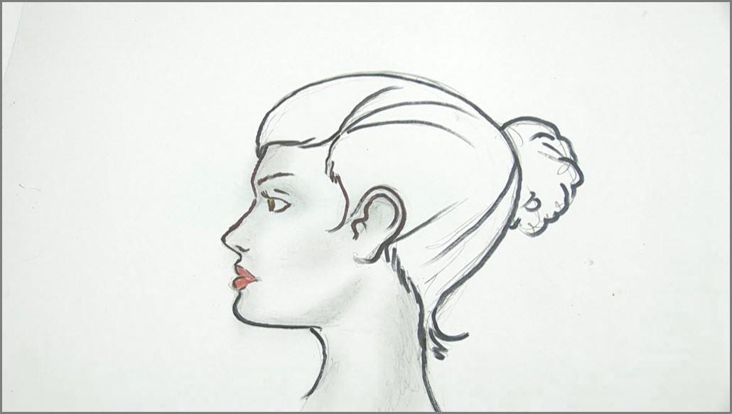 девушка в профиль рисунок