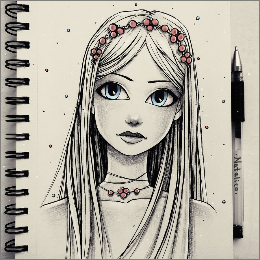 Рисунок девушки для скетчбука