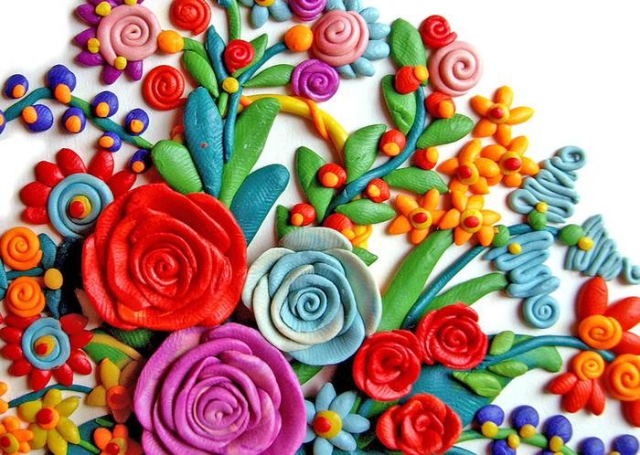 цветы из пластилина 63