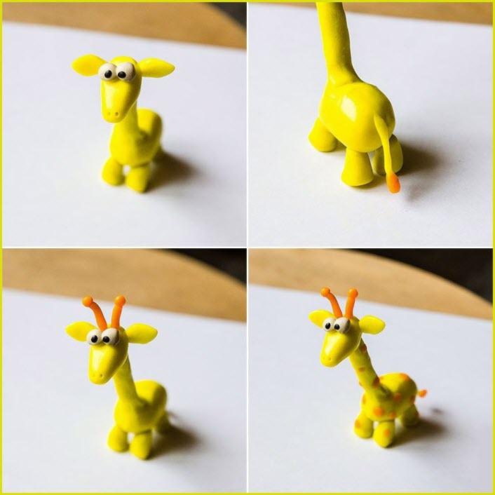 жираф из пластилина 3