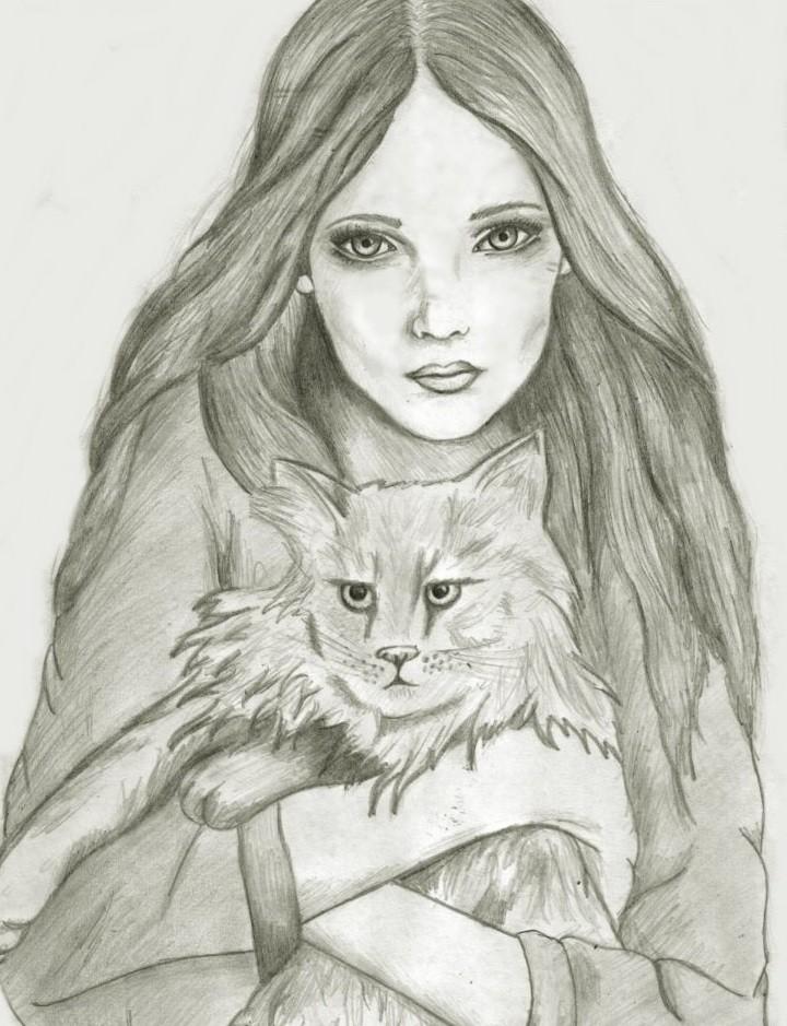 Задумчивая девушка с котом 73