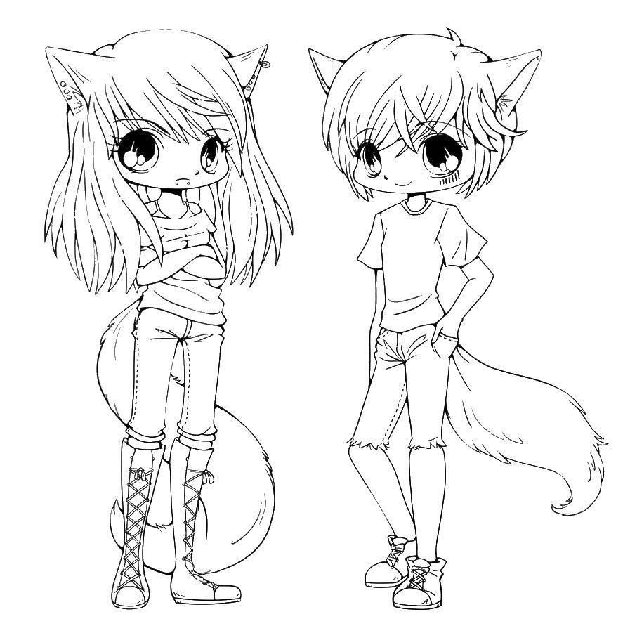 Раскраска девушки аниме 4