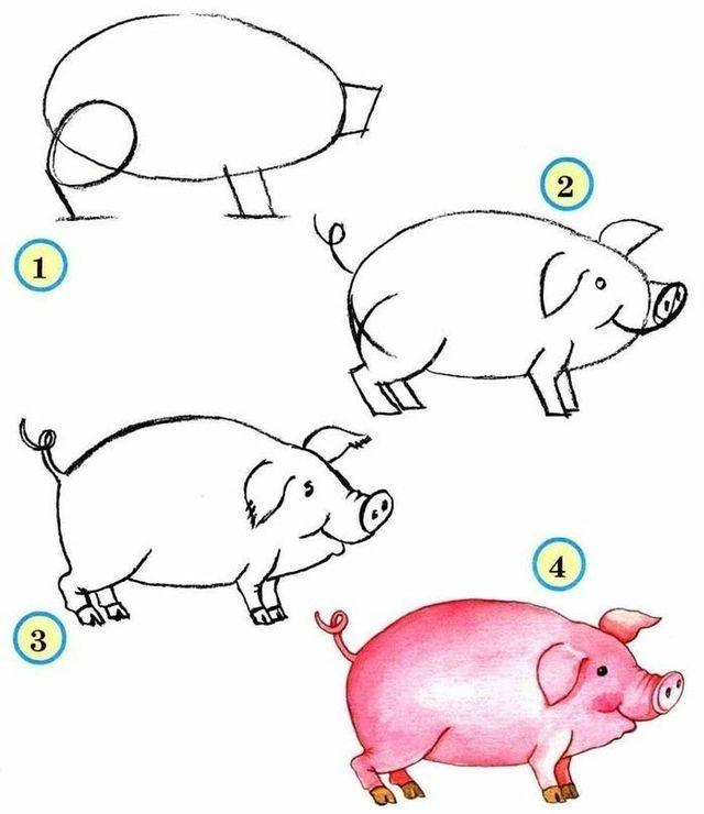свинью рисовать поэтапно