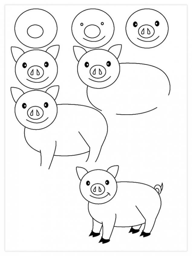 свинью рисовать поэтапно 3