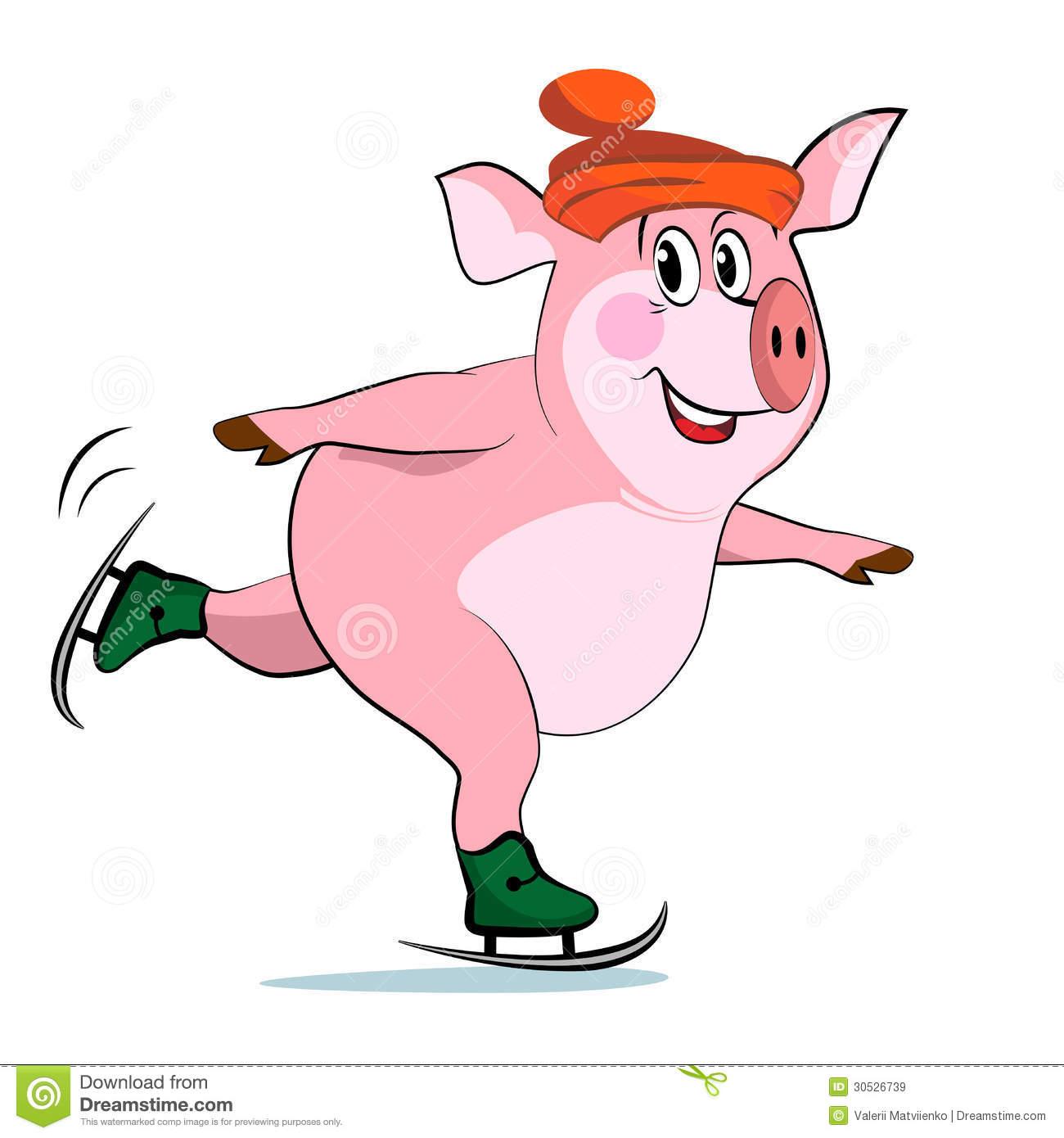 свинка на коньках