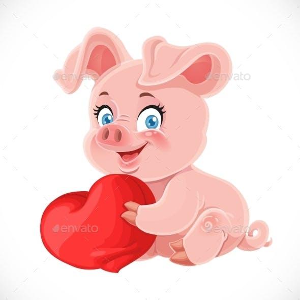 поросёнок с сердечком