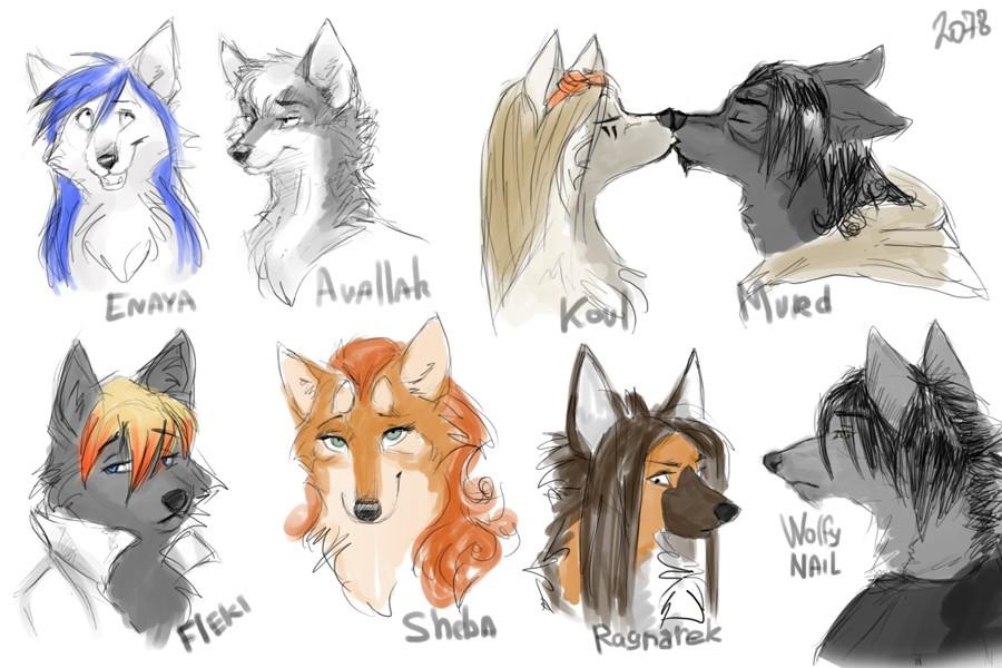 рисунки фурри волки