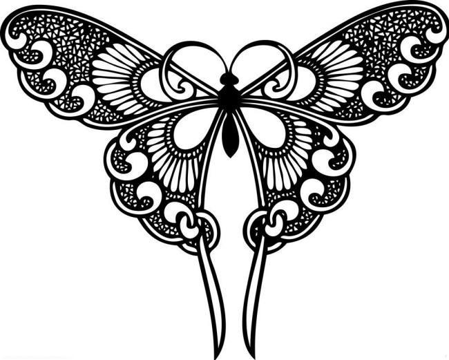 бабочка раскраска 12