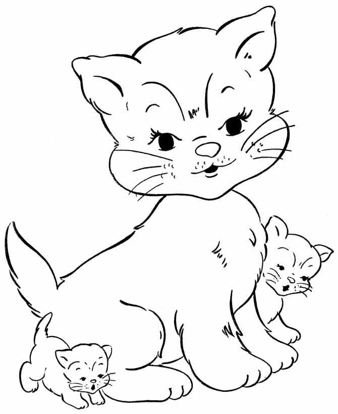 раскраска кошка с котятами