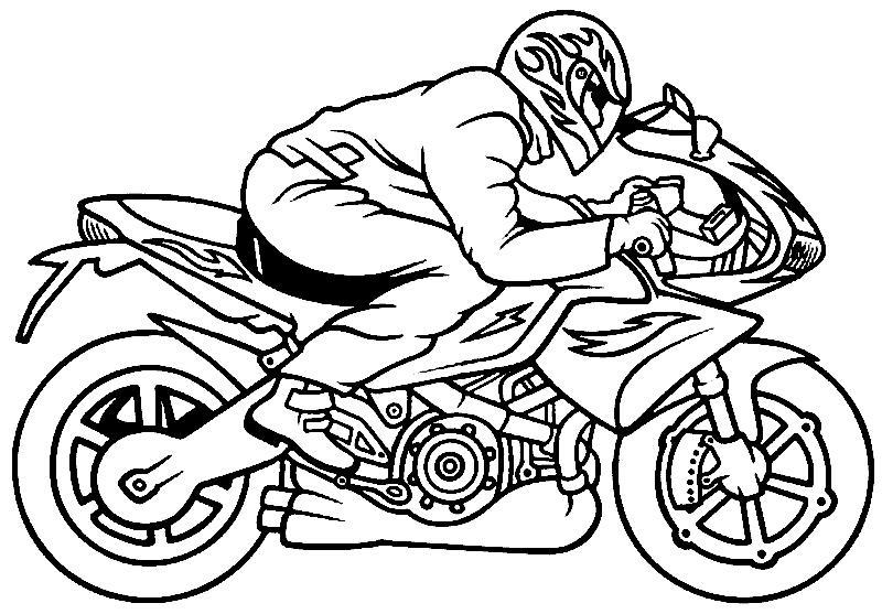 Раскраска мотоциклист