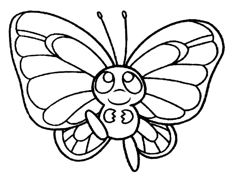 бабочка раскраска 2