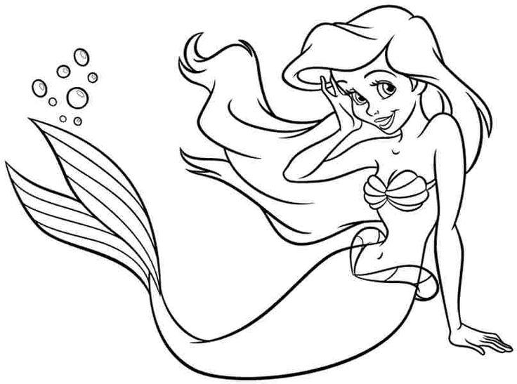 русалка Ариэль раскраска