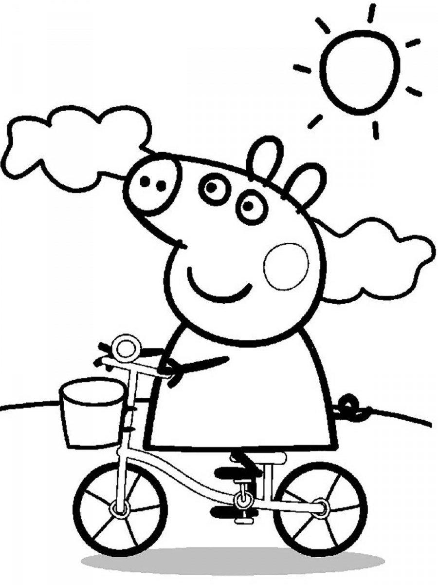 Свинка Пеппа на велосипеде едет