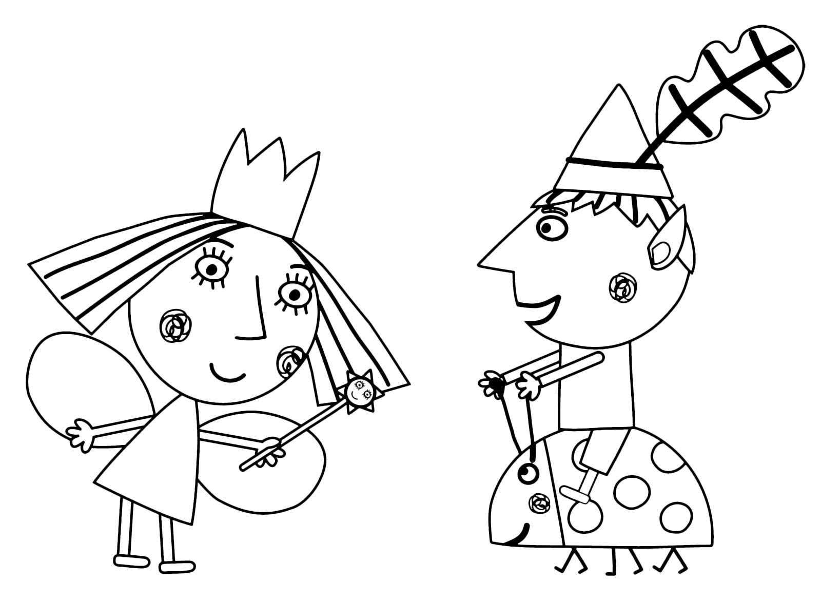 Раскраска Бен и Холли 4