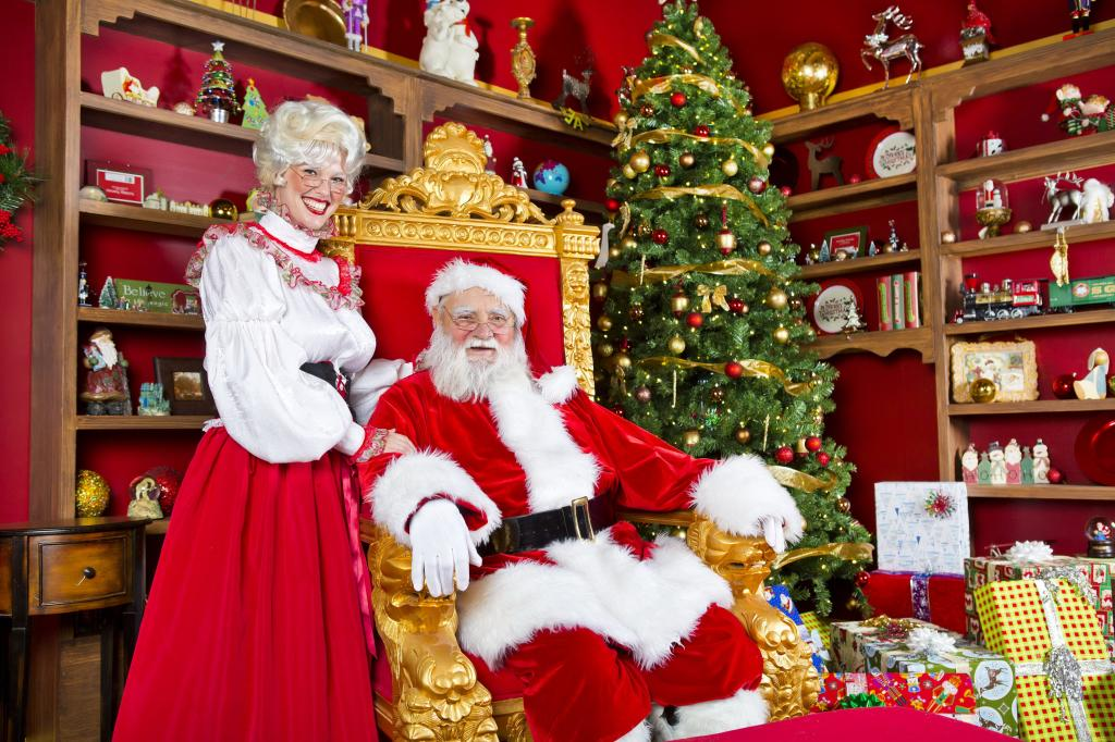 Дед Мороз и Снегурочка у ёлки
