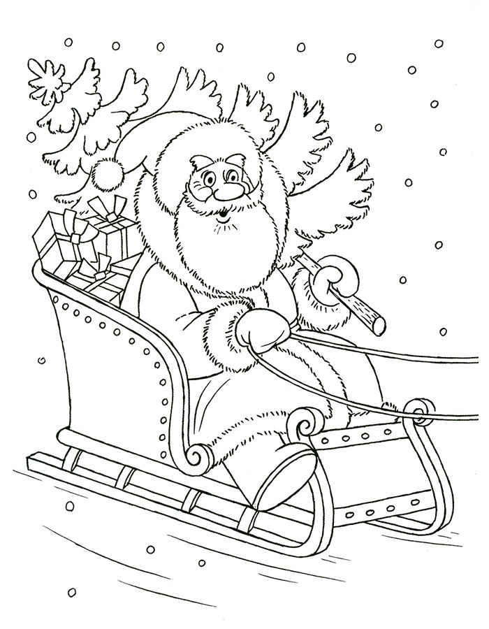 раскраска Дед Мороз 16