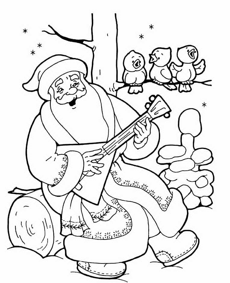 Дед мороз играет на балалайке