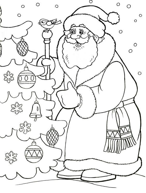 Дед Мороз наряжает ёлку