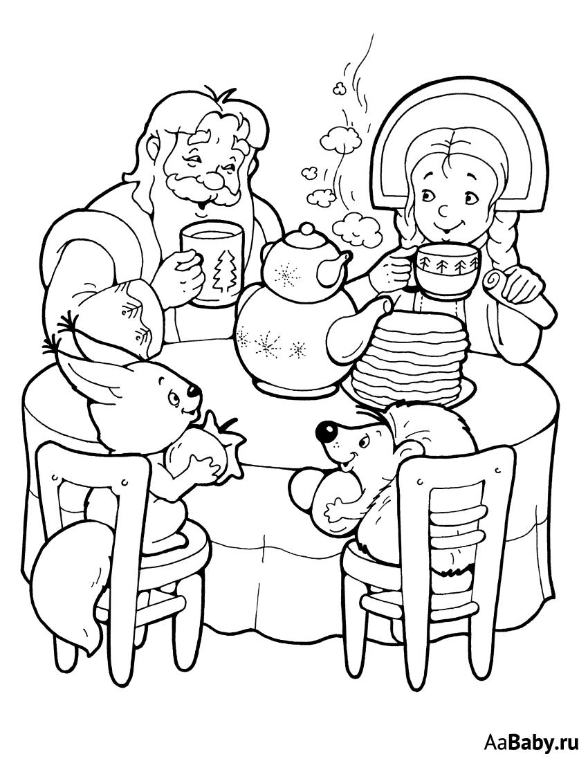 Раскраска Дед Мороз и Снегурочка 8