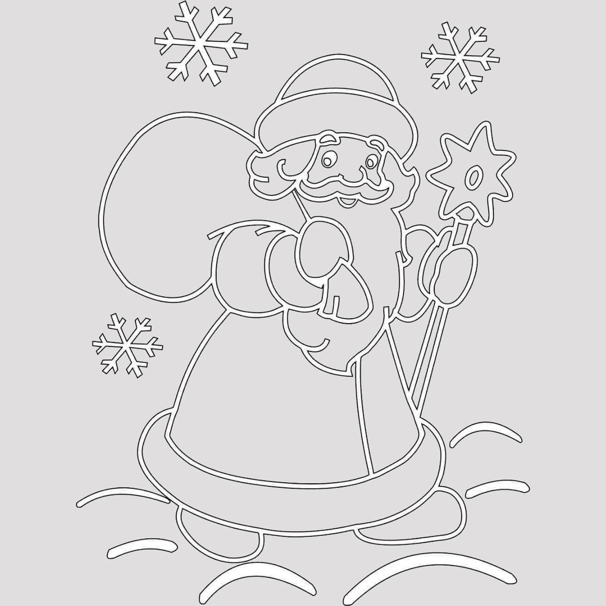 Трафарет Дед Мороз 8
