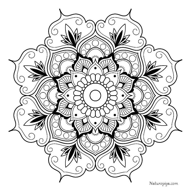 Мандала раскраска цветы