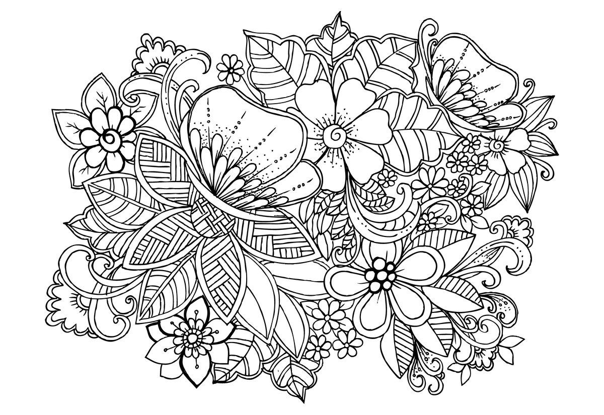 раскраска цветы антистресс 2
