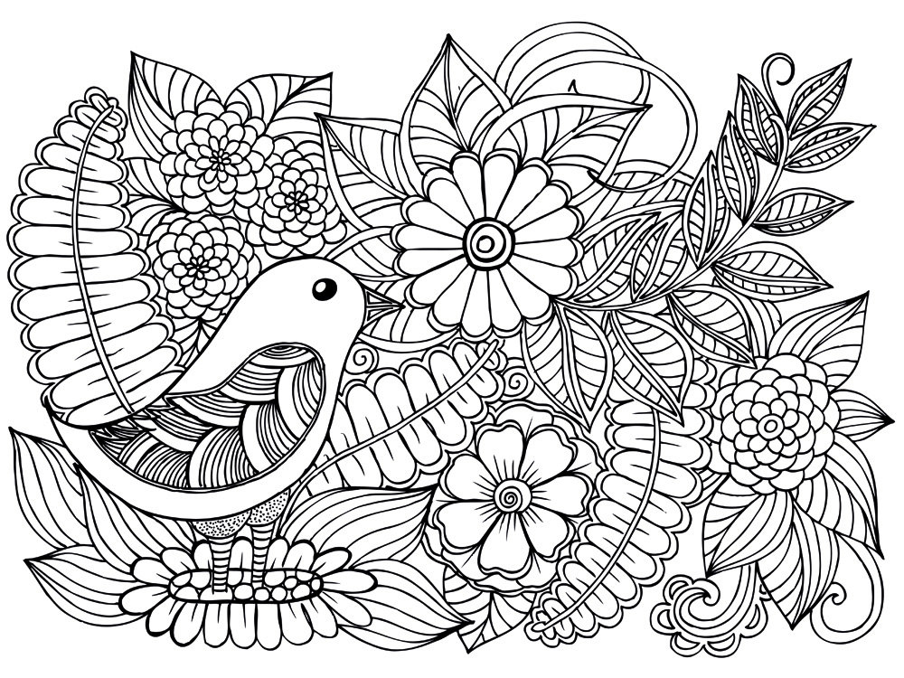 раскраска цветы антистресс 4