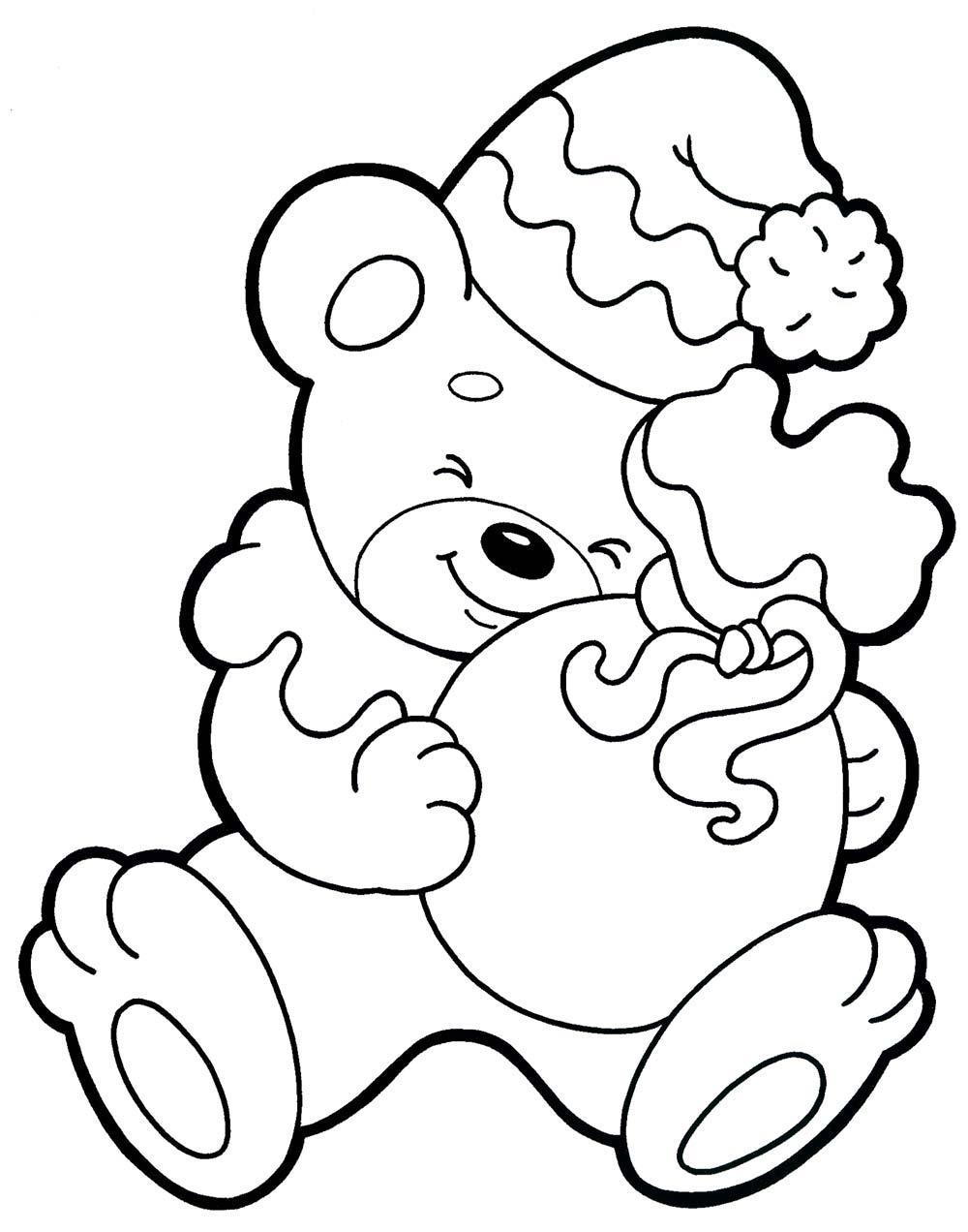 новогодний мишка раскраска