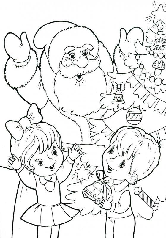 Дед Мороз раскраска 9