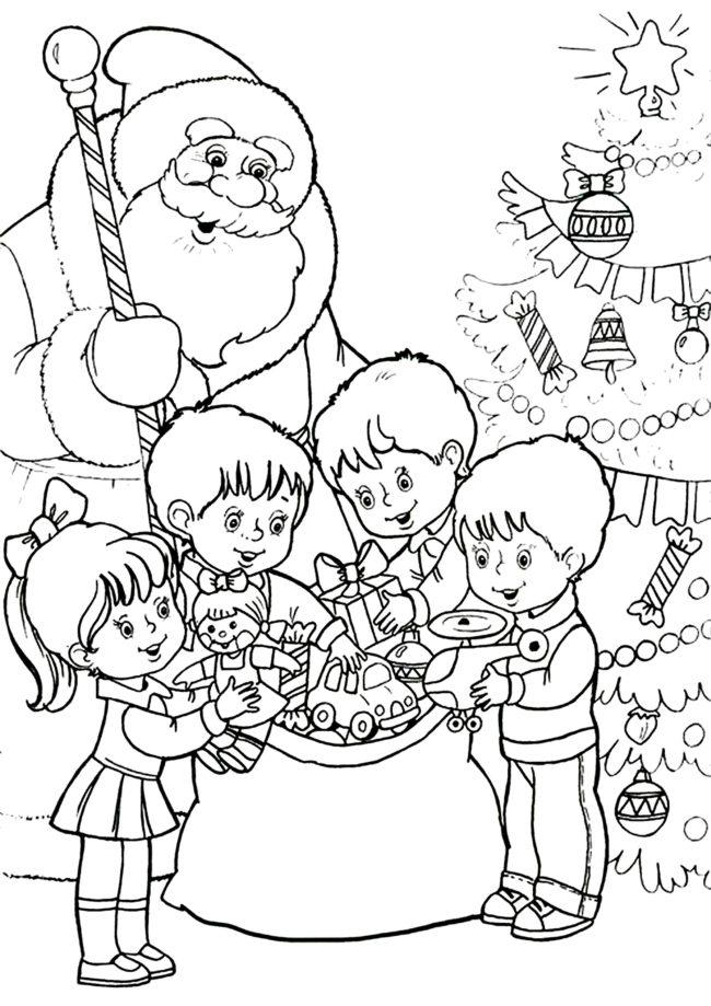 Дед Мороз раскраска 10