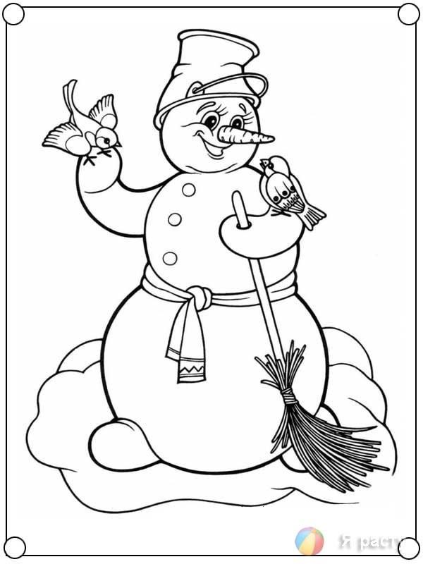 снеговик раскраска 6