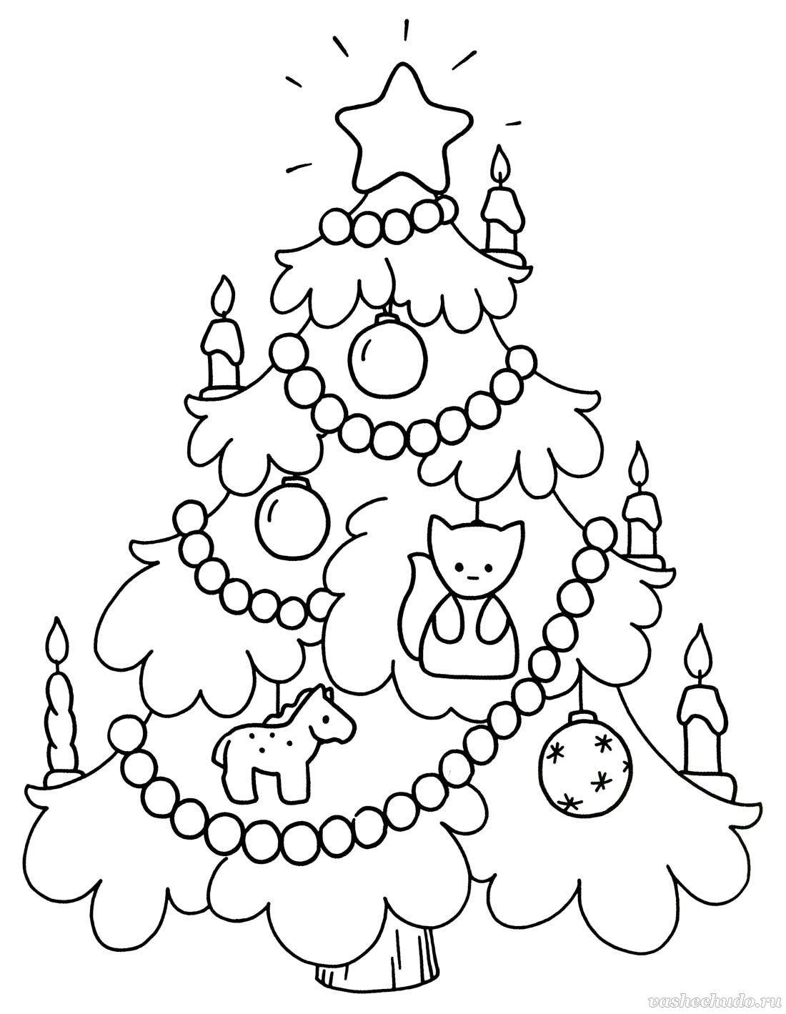 раскраска ёлка новогодняя 4
