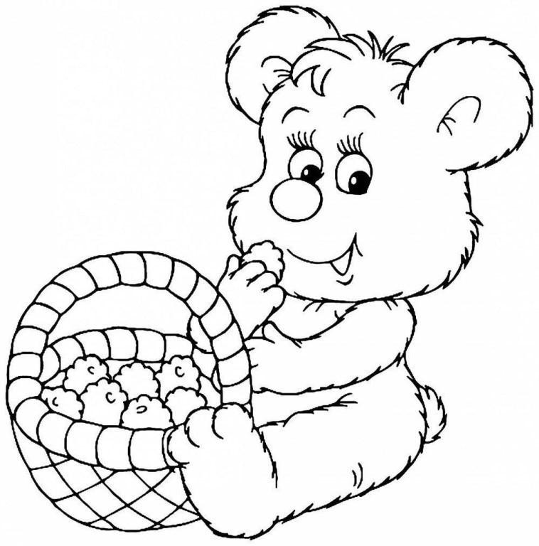 мишка с корзинкой раскраска