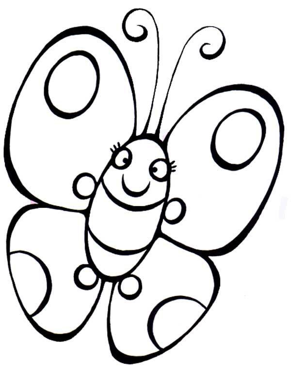 бабочка раскраска для самых маленьких