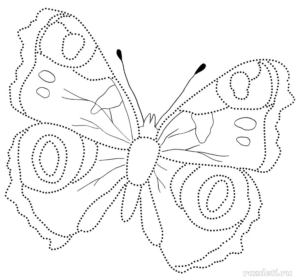Бабочка раскраска павлиний глаз 2