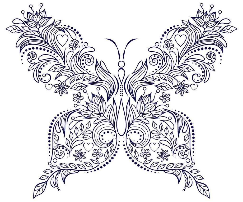 раскраска узоры бабочки