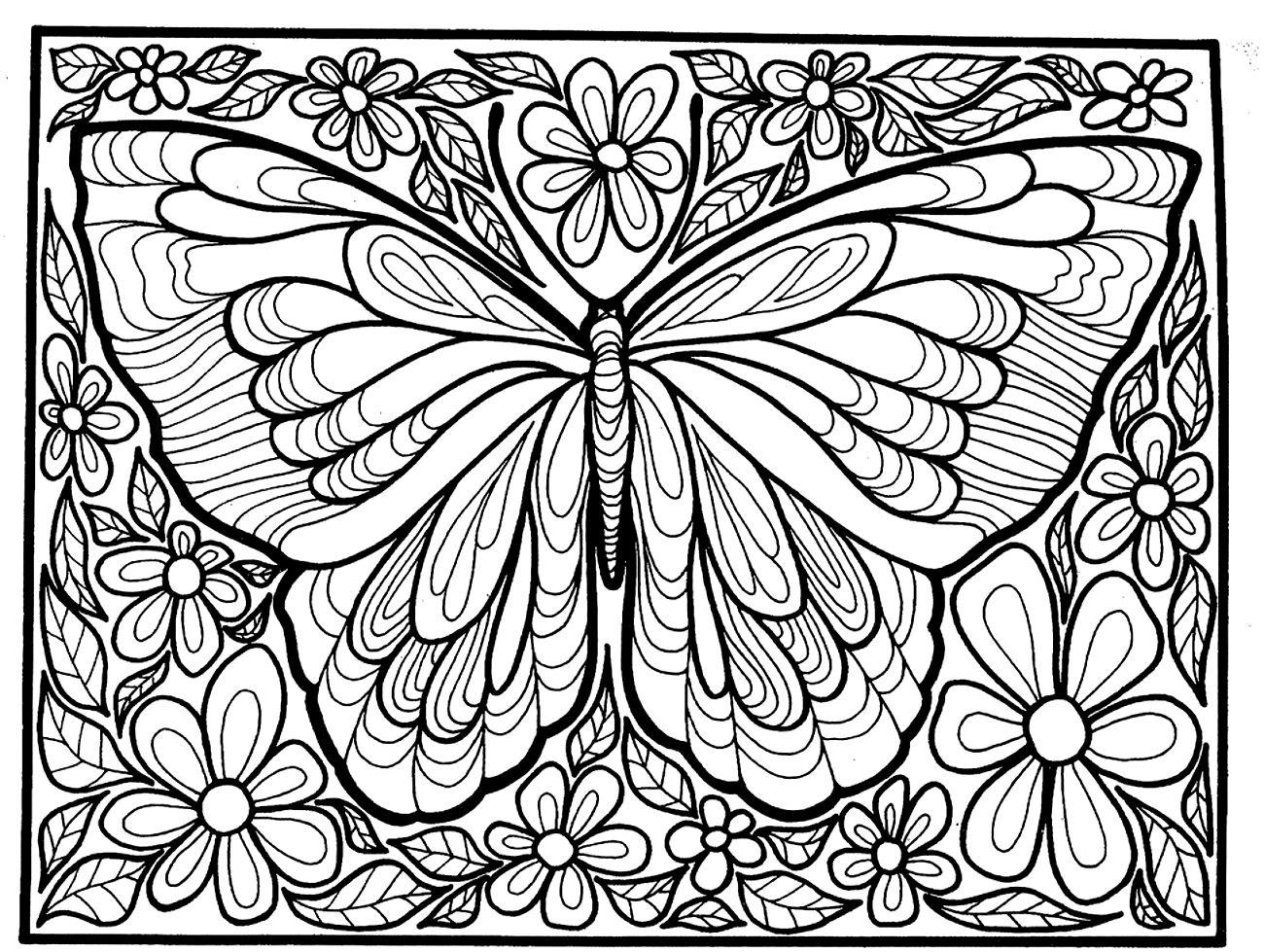 бабочка раскраска антистресс 5