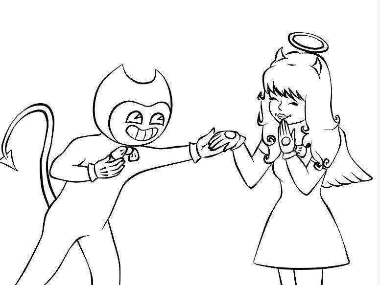 Раскраска Бенди и Алиса 5