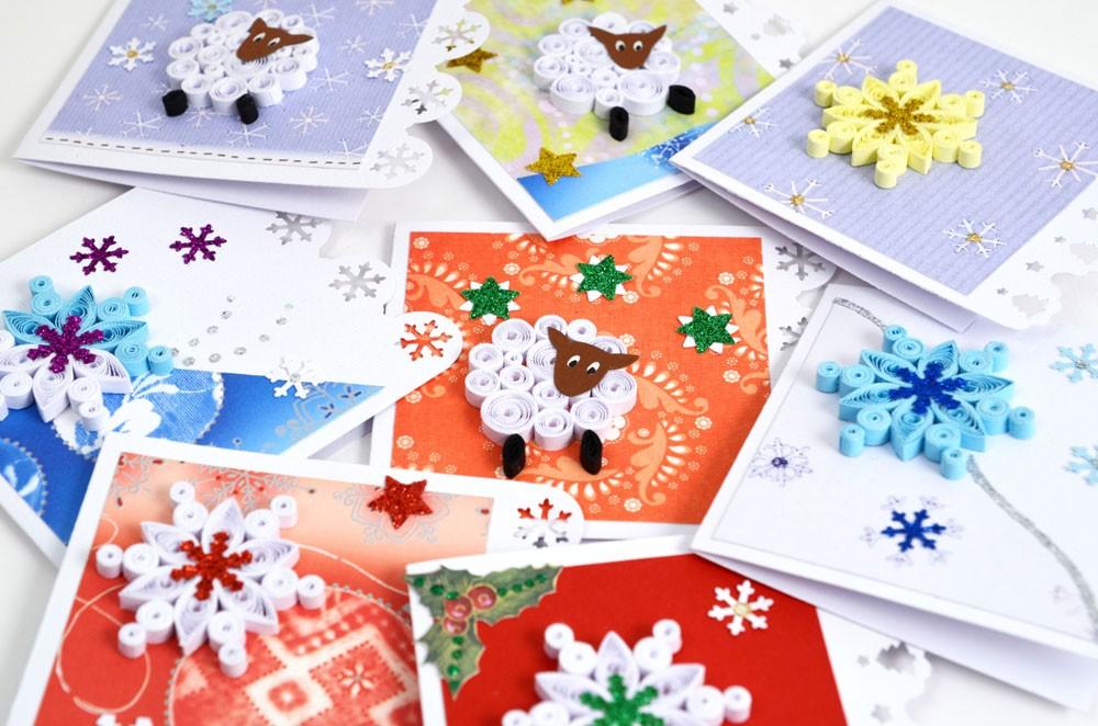 Новогодние открытки квиллинг