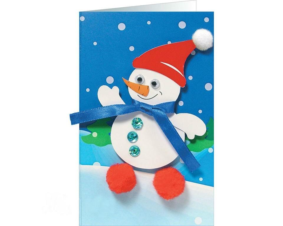 открытка со снеговиком 2