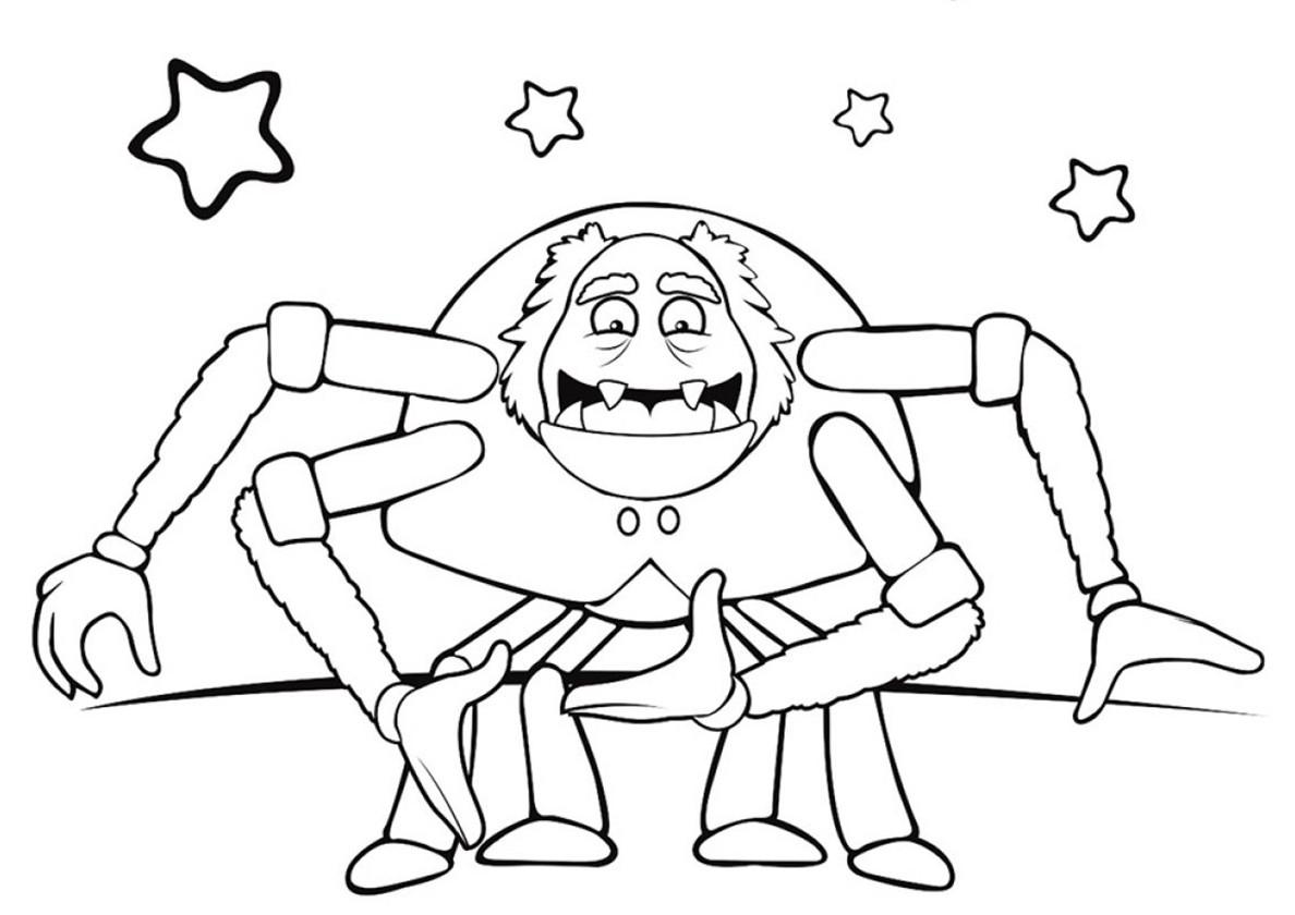Раскраска паук Шнюк