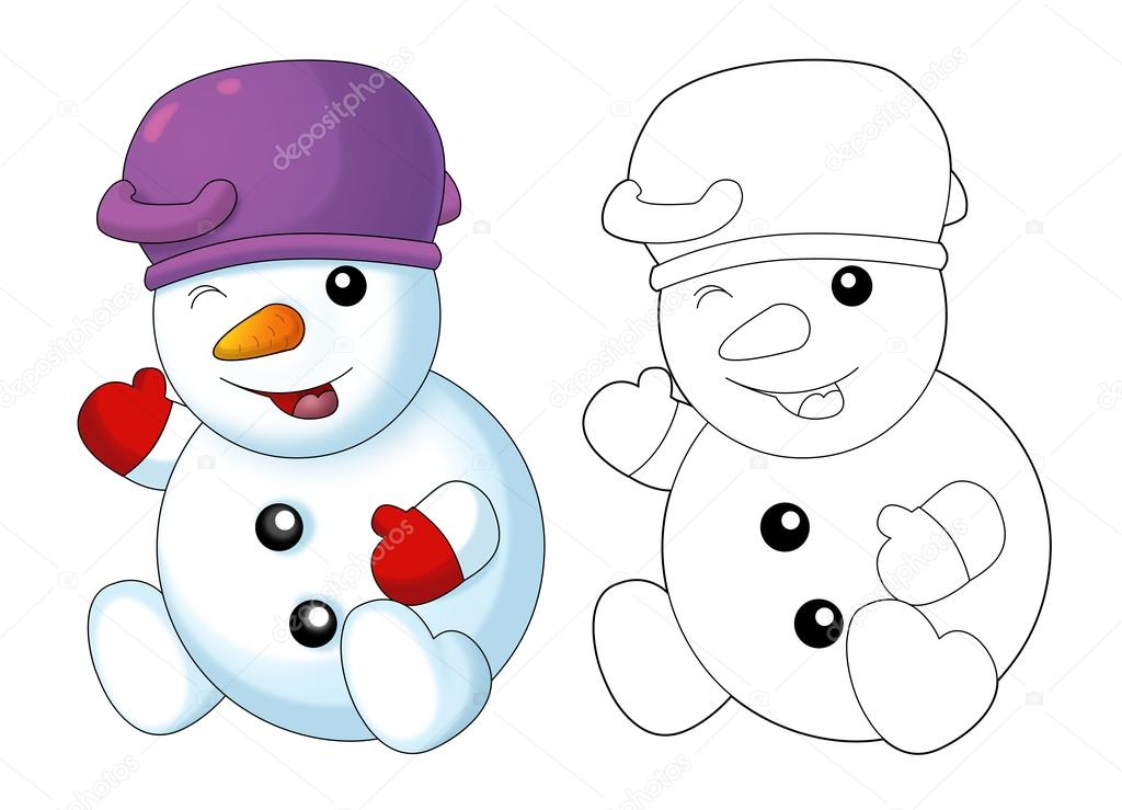 Раскраска снеговик 8