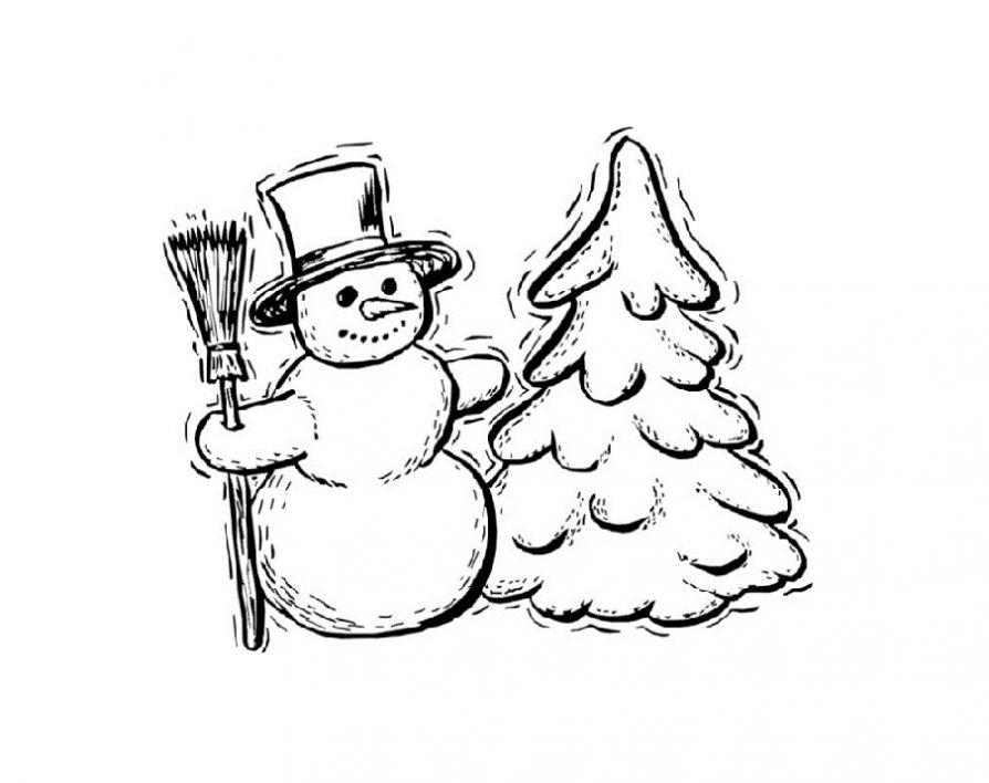 Снеговик у ёлки