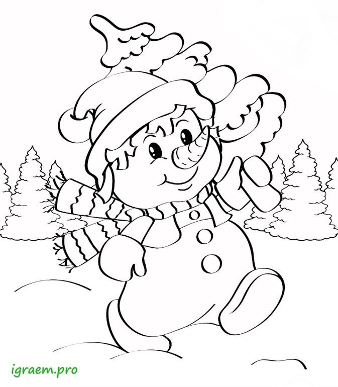 снеговик несёт ёлку