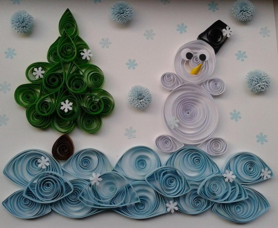 Квиллинг снеговик